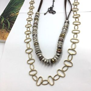 2 Fossil gold, silver brass Crystal long necklace